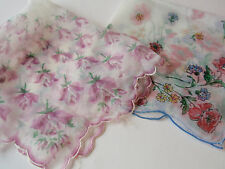 Vintage Pair Ladies Square Floral Handkerchiefs Floral Purple Rose Red Bouquet 2