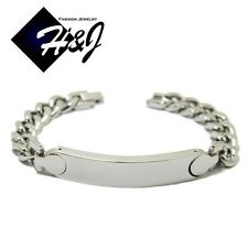 "8.5""MEN Stainless Steel 10mm Silver/Gold/Black Cuban Curb Link Chain ID Bracelet"