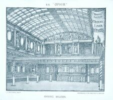 OLD ANTIQUE PRINT ORIENT LINE SHIP S.S. OPHIR c1890's DINING SALOON by MACLURE