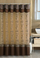 Chocolate Brown Fabric Shower Curtain: 2-Layered, Embroidered, Attached Valance