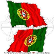 PORTUGAL Wehende Flagge Portugiesisch Fahne 75mm Aufkleber x2 Vinyl Stickers