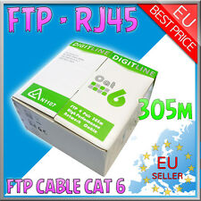 305M Meter ROLL Ethernet Network Foilded FTP CCA 24AWG Cat 6 RJ45 Lan Cable Reel