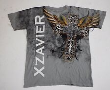 Men Short Sleeve Graphic t Shirt  Large Grey XZAVIER Cross Wings