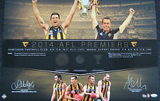 HAWTHORN HAWKS 2014 AFL PREMIERS CAPTAIN COACH SIGNED MEDALS PRINT HODGE RIOLI