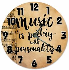 """MUSIC IS POETRY With Personality Clock - Large 10.5"""" Wall Clock - 2057"""