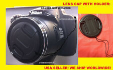 FRONT SNAP ON LENS CAP  DIRECTLY to CAMERA NIKON COOLPIX P520 + HOLDER