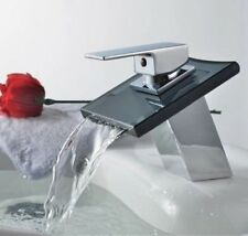 Black Glass Waterfall Mixer Tap faucet Bathroom basin Sink Mixer Tap