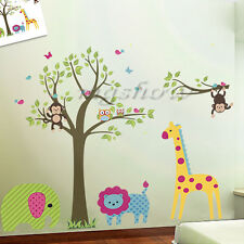 Owl Tree Zoo Jungle Animals Lion Elephant Monkey Giraffe Wall Stickers Nursey