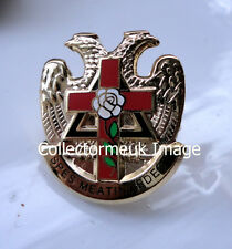ZP430 Freemason Badge Knights Templar White Rose Cross Eagle Rose Croix