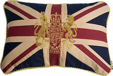 "12""x18"" VINTAGE ROYAL CREST CROWN & LION UNION JACK UK FLAG Woven Cotton Cushion"