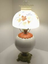 Vintage Beautiful Gone w/the Wind Parlor Hurricane Electric Lamp Orange Leaves!
