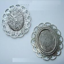 OVAL ANTIQUE SILVER BRONZE GOLD CAMEO CABOCHON PENDANT SETTING TRAY 30X22mm C15