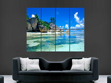 TROPICAL BEACH SAND PARADISE SEA WATER ART HUGE  LARGE PICTURE POSTER GIANT