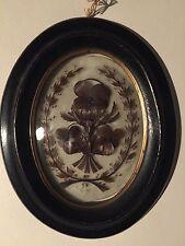 Reliquaire travail de cheveux sur verre Pensées Napoléon III verre bombé