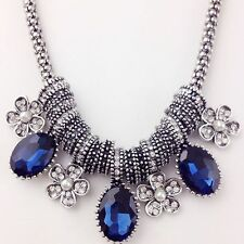 Fashion Women Bib Pearl Crystal Flower Pendant Chain Chunky Statement Necklace