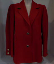 Vintage Yves Saint Laurent Womens Size 42 14 USA Blazer Jacket Coat Red Wool