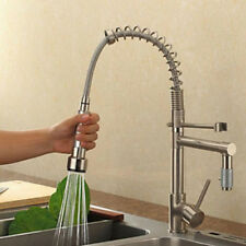 Spring Brushed Nickel Kitchen Faucet Dual Spouts Vessel Sink Mixer Tap Deck