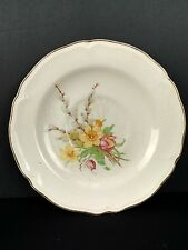 """Vintage Edwin M. Knowles China Semi Vitreous Saucer Yellow Pink Flowers 6"""""""