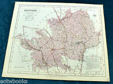 HERTFORDSHIRE - Original Antique County Map  - LETTS - 1884, cloth mounted.