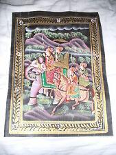 Tessuto indiano pittura di moghuls Riding Elefante & Cavallo