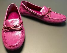 Cole Haan Pink Magenta Metallic Driving Moccasins Loafers Boat Shoes Size 8 EUC