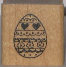 Embossing Arts Rubber Stamp - Easter Egg with Hearts and Flowers