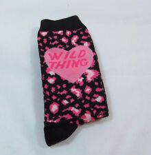 Womens Wild Thing Micro Cheetah Leopard Pink Black Novelty Crew socks size 9-11