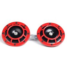 2Pcs Super Loud Grille Mount Compact Electric Blast Tone Horn Kit 12V Red 110dB