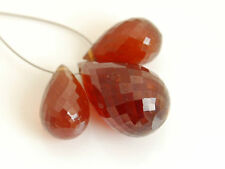 AA Hessonite Garnet Faceted Teardrop Briolette Gemstone Beads 005
