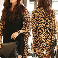 2015 Women Clothes Women Coat Women Top Women Shawl Leopard Print Batwing Sleeve