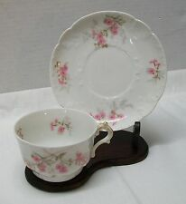 Limoges Teacup Saucer Pink Flowers CH Field Haviland GDA France Vintage