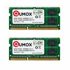 Qumox 16GB(2x 8GB)  DDR3 DDR3L 1600MHz PC3-12800 (204 PIN) SO-DIMM MEMORY 1.35v