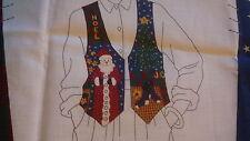 """FABRIC PANEL Just Cut & Sew """"CHRISTMAS VEST"""" Print XS S M L NOEL SANTA SNOWMAN"""