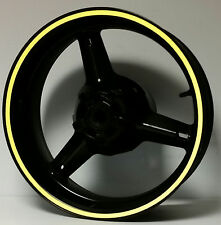 YELLOW REFLECTIVE MOTORCYCLE WHEEL STRIPES RIM STICKERS TAPE DECALS VINYL TRIM