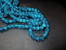 110pcs 8mm CRACKLE Glass Round Beads - BLUE (1 strand )