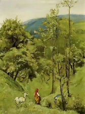 Oil Hans Thoma - Shepherd Girl with a goat in the meadow of rolling hills canvas