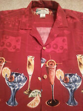 PARADISE FOUND Men's Hawaiian Style 100% RAYON Large (L) RED COCKTAILS S/S Shirt