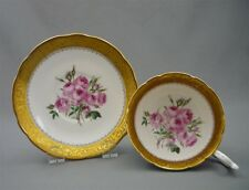 E Brain Foley English Bone China Tea Cup & Saucer HEAVY GOLD BAND w/ PINK ROSES