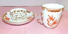 ANTIQUE HEREND VICTORIA RUST TEA CUP TREMBLEUSE SAUCER SET BUTTERFLY FLOWER 713