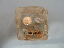 Vintage Acrylic Frozen Assets Ice Cube Shaped Suspended Lincoln Pennies 2.5 Inch