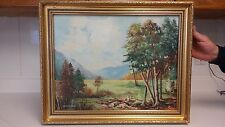 Listed American artist Cunningham antique landscape oil painting