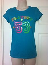 Ex Playboy, Touquoise Short Sleeve  T-Shirt with Multi Coloured Print, Size 10