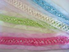 "8pc Satin Ribbon French Cross 12"" Floral Lace Sampler Stripe/Pink/Blue/White T84"