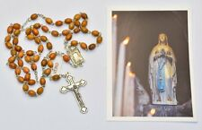 Olive Wood Lourdes Rosary Beads & Lourdes Prayer Card Catholic Gift Shop LTD