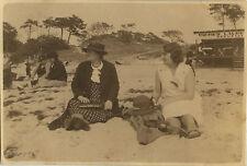 PHOTO ANCIENNE - VINTAGE SNAPSHOT - PLAGE FEMME MODE ÉLÉGANCE ARCACHON - FASHION