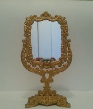 Large Vintage Vanity Table Mirror Frame Cast Iron Ornate Footed Swivel