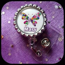 BUTTERFLY PERSONALIZED Name Bottle Cap ID Badge Key Holder Lanyard Work Clip RN