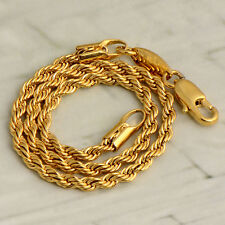 Womens 14K Yellow Gold Filled Authentic Rope Chain Bracelet Charm Solid