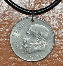 Mexico Un Peso 1971 Estados Unidos Mexicanos Coin Pendant Leather Necklace