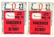 1X VANCOUVER CANUCKS Ticket Stub vs DETROIT RED WINGS Mar 15th 1977 RARE